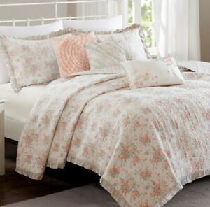 PINK ROSE RUFFLE 6p Full Queen QUILT SET :  COTTAGE SERENDIPITY CHIC SHABBY