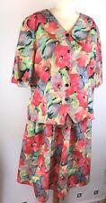 """Floral Ladies Blouse (24) Skirt (30) 54"""" Waist 54"""" Chest D045"""