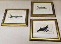 Joe Milich Aviation Framed Art Print Lot of 3 - Boeing B-47 F-400 Super Sabre