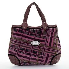 GUCCI Hong Kong exclusive purple geometric velvet ostrich trimmed hobo bag