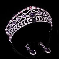 5cm High Purple Crystal Tiara Earrings Set Wedding Party Pageant Prom Crown