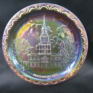 """Indiana Carnival Glass Independence Hall Amber Gold Marigold 8"""" Diameter"""