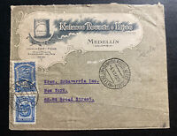 1924 Medellin Colombia Advertising Cover To  New York Usa Nolasco Coffee