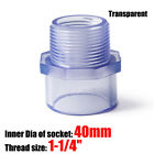 """PVC 1/2""""~2"""" Nipples Threaded Pipe Fittings Connector BSP Adapter transparent"""