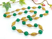 Vintage Green Glass & Gold Tone Textured Bead Necklace - Czech ?
