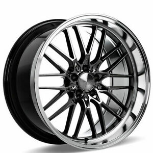 "(4) 20"" Staggered Ace Alloy Wheels AFF04 Black Chrome Machined Lip Rims(B45)"