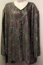 Vtg Women's Plus 3X Rainbow Metallic Shirt Blouse Gold Retro Disco Evening Wear