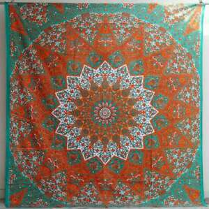 New Indian Orange & Green Ombre Mandala Wall Decor Tapestry Queen Bedding Hippie