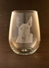 New! Etched Bull Terrier on Large Elegant Stemless Wine Glasses - Set of 2