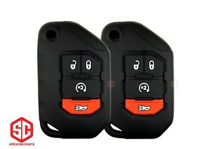 2x New Key Fob Remote Fobik Silicone Cover Fit / For Jeep Gladiator Wrangler.