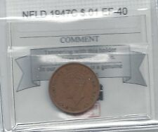 **1947C**,Newfoundland Small One Cent, Coin Mart Graded **EF-40**