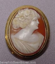 Beautiful Antique 14k Gold Cameo Brooch