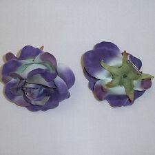 "2X Large Purple Rose Artificial Silk Flower 4.0"" Head Hair Clip Craft"