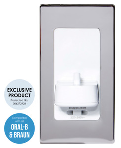 ProofVision In Wall Electric Toothbrush & Shaver Outlet - Polished Steel