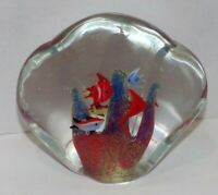 "Vtg Murano Art Glass Tropical 7 Fish Coral Aquarium Glass 5.5"" Paperweight *flaw"