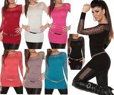 ♥ SeXy Miss Damen Strick Long Pullover Spitze Nieten Dekoltee Pulli 34/36/38