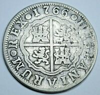 1766 Spanish Silver 2 Reales Old Antique Colonial Two Bits Pirate Treasure Coin