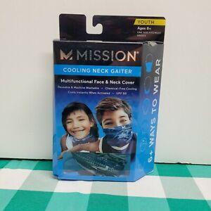 MISSION COOLING NECK GAITER  AND FACE COVER YOUTH 8+   UPF 50