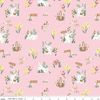 Easter Bunny Basket rabbit fabric Riley Blake fabric 100% cotton Easter Fun pink