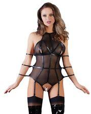 Body Sexy Lingerie Bondage Nero Trasparente cavallo aperto e braccia legate