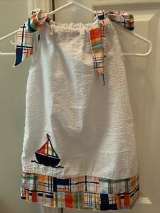 Lolly Wolly Doodle white seersucker sailboat dress size 4
