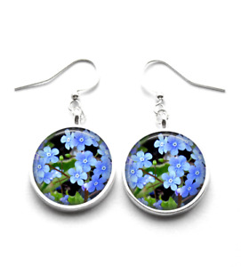 Silver Plated Forget Me Not Photo Art Glass Earrings