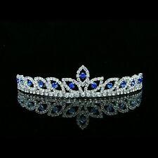Bridal Wedding Blue Rhinestones Crystal Prom Crown Tiara 8421