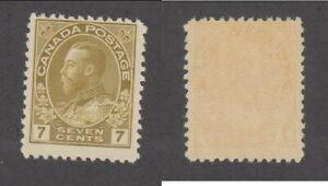 MNH Canada 7c Olive Bistre KGV Admiral Stamp #113a (Lot #20056)