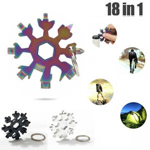 18 In 1 Stainless Multi-Tool Portable Snowflake Shape Key Chain Screwdriver UK