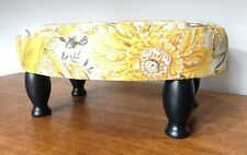 Vintage Wooden Upholstered Footstool - Upholstery Floral Upcycle