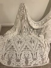 """OFF WHITE STRETCH MESH W/WHITE  EMBROIDERY SEQUINS  FABRIC 50"""" WiIDE 1 YARD"""