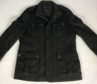 Mens Hugo Boss Wool Dress Coat Fullzip with Snaps Quilted Liner Black Size 42R