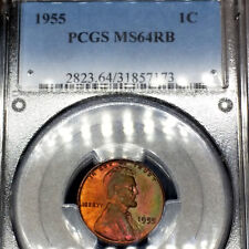 Green Toned 1955-P MS64 RB Red Brown Lincoln Wheat Cent graded by PCGS 1c Penny!