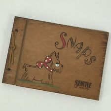 SNAPS SEATTLE SCRAP BOOK Vintage Wood Stained Cover Photo Album Book Dog 60s 70s
