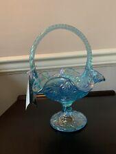 Fenton Glass Basket — Aquamarine