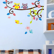 Wall Decal Stickers Kids Girls Nursery Playroom Owl Tree Fairytale Picture Dc9