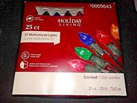 (1 Case) 25 MultiColor C7 Christmas Lights Holiday Living 0005643 = 200 NEW