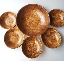Tejido madera Bol de ensalada Snack Juego de rayas MADERA 11Pcs Vintage