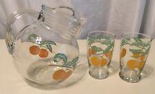 Vintage Anchor Hocking Glass Orange Juice Ball Pitcher & 2 Glasses 3 Pc. Set EUC