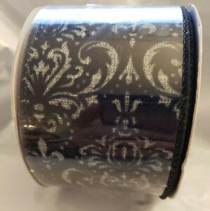 "Christmas Fancy Black Ribbon 2.5"" x 30' LUV Ribbon Wired"