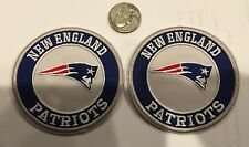 """2- NEW ENGLAND PATRIOTS EMBROIDERED VINTAGE/RETRO IRON-ON PATCHES  3"""" ROUND!"""