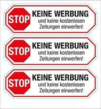 """3x Briefkasten Aufkleber """"Keine Werbung und Zeitschriften einwerfen"""""""
