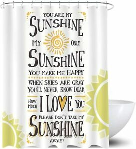 You Are My Sunshine White Yellow Rustic Farmhouse Fabric Shower Curtain