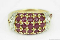 14Carat Yellow Gold Over 2.00Ct Round Red Ruby & Diamond Cluster Engagement Ring