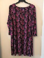 NWT Kaari Blue Women's Plus 3X Black Pink Floral Cherry Blossom Poppy Dress $99!