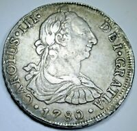 1780 XF Peru Silver 8 Reales Antique 1700's Spanish Colonial Pirate Dollar Coin