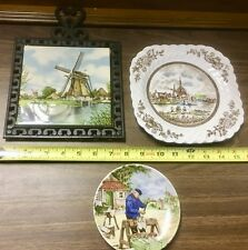 3 vintage windmill porcelain plates & tile trivet Royal Schwabap Johnson Bros.