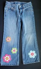 Gymboree Girls Growing Flowers Size 4 Jeans Denim Pants Blue Pink Green  Vintage