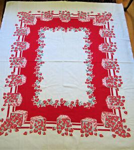"1940's VTG Tablecloth Beauty Kraft ""Strawberry Festival"" Cotton 60""X69"" Red Rare"