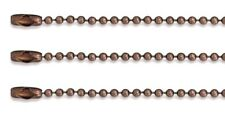 "LOT 10 BALL CHAIN Necklaces 24"" Length 2.4mm Bead ~ Antique Copper Finish"
